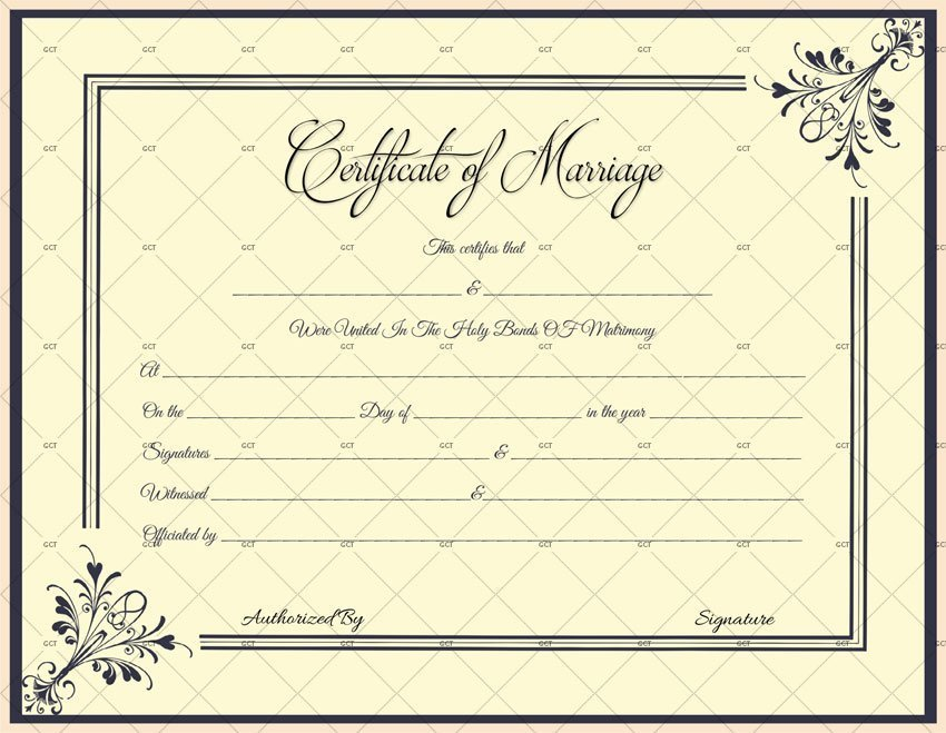Marriage Certificate License (MS Word) – Black