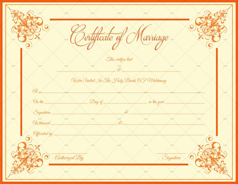 Marriage Certificate Orange Borders (Word Printable Design)