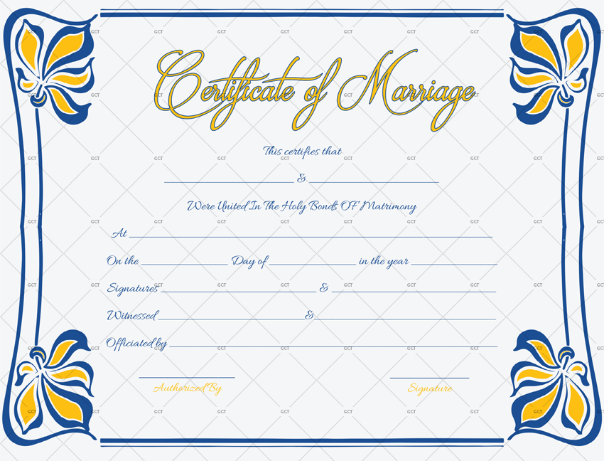 It is a picture of Luscious Marriage Certificate Template Word