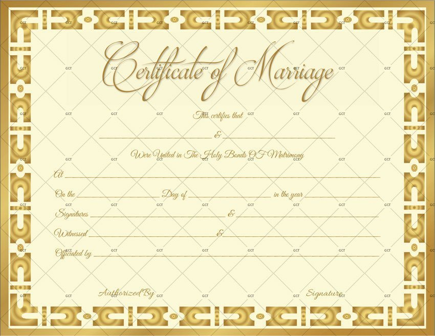 Marriage Certificate Template Gold Vintage (Word)