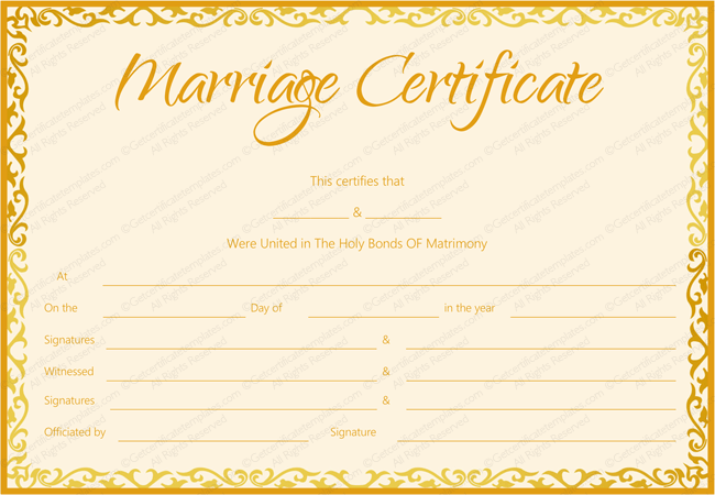 Marriage Certificate Template Golden Flames Design (Microsoft Word and PDF)