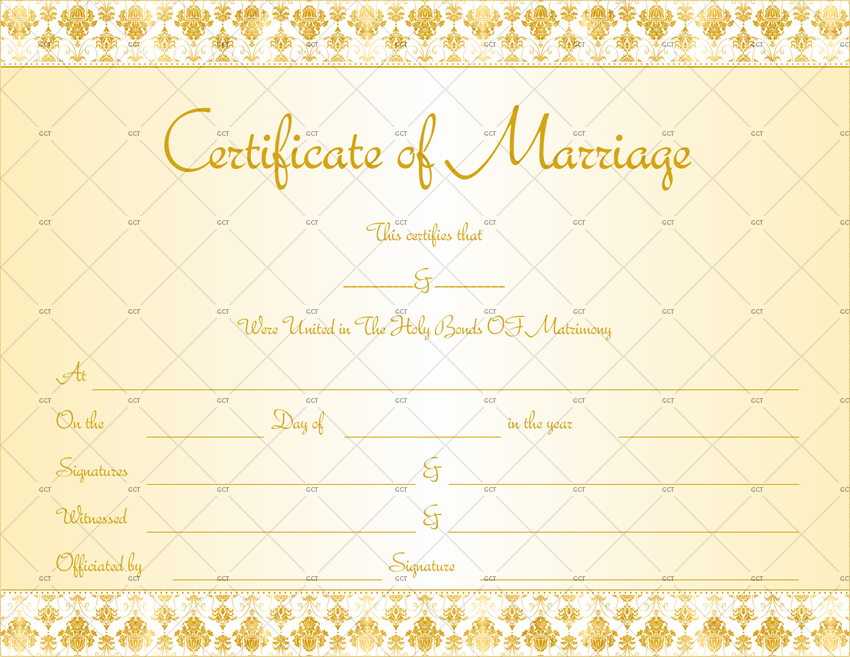 Marriage Certificate Template (Royal Gold) Printable for MS Word