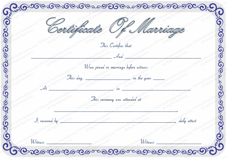 Marriage Certificate Template with Blue Borders