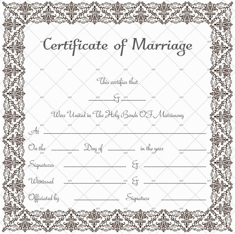Marriage License Template Photo Frame Size (in Word)