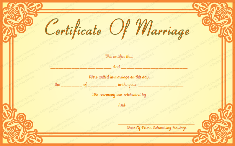 Orange Frame Wedding Certificate Template (Word)