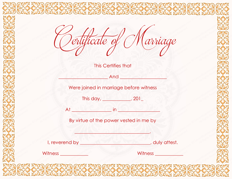 It is a picture of Simplicity Marriage Certificate Template Word