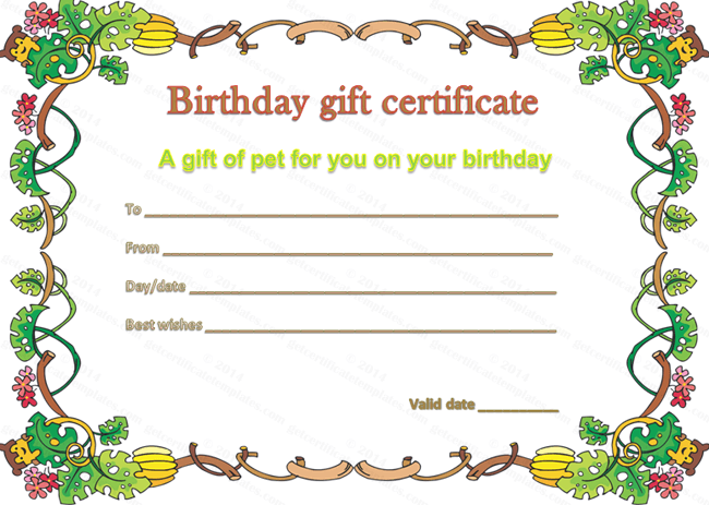 Pet Gift Certificate Template for Birthday editable birthday certificate
