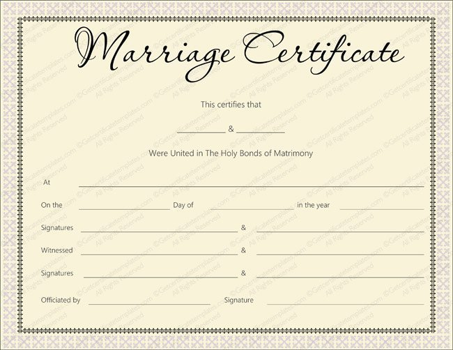 Pink Delight Design Marriage Certificate Design (Word Template)