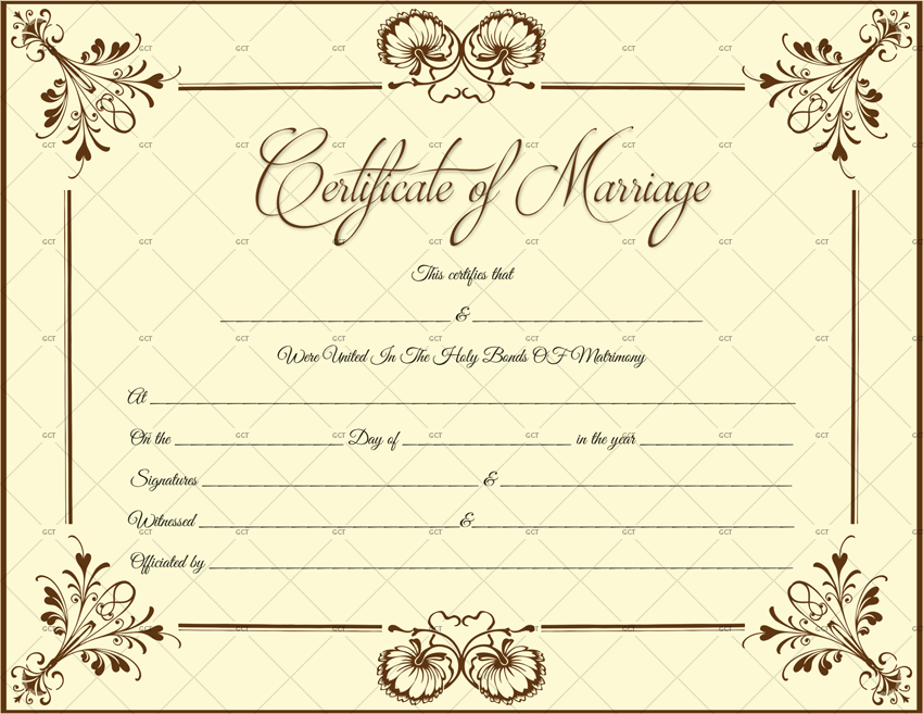 Printable Marraige Certificate Blank (for Word)