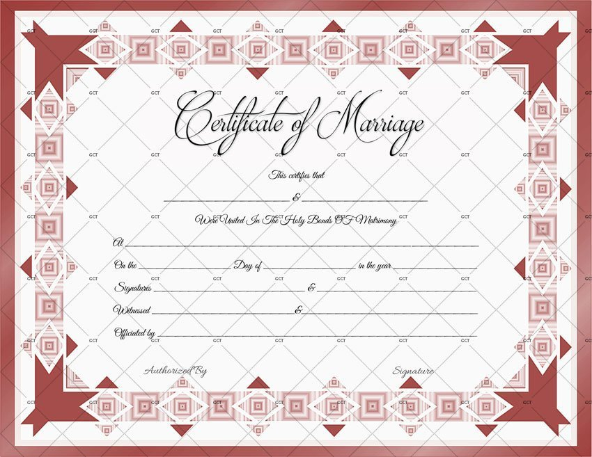 This is an image of Intrepid Marriage Certificate Template Word