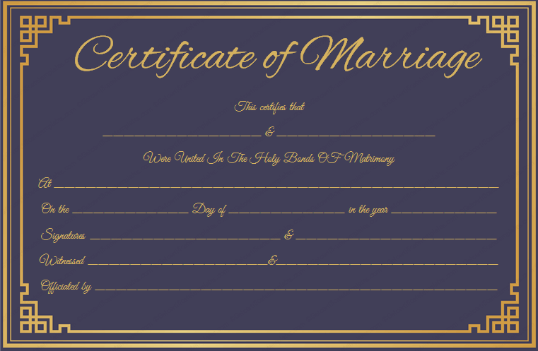 Royal Blue Marriage Certificate Template (Printable Design)