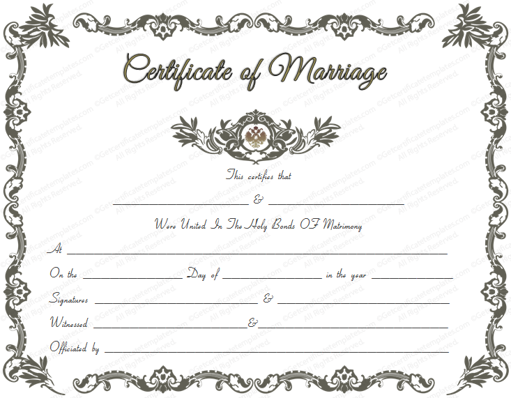 Royal Marriage Certificate Template (Royal Design in PDF and Microsoft Word Format)