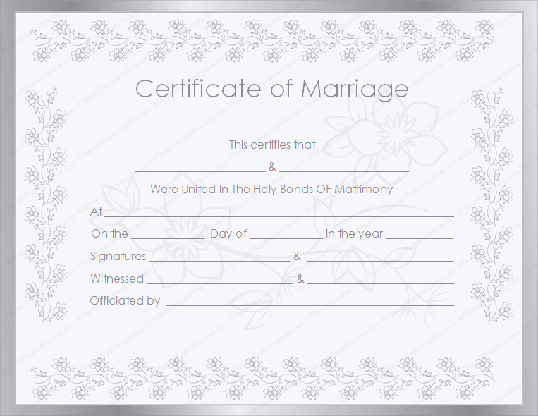 Silver Certificate of Marriage Template (Word Template)
