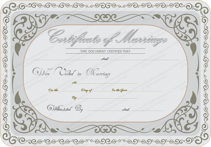 Silver State Marriage Certificate Template (MS Word Design)