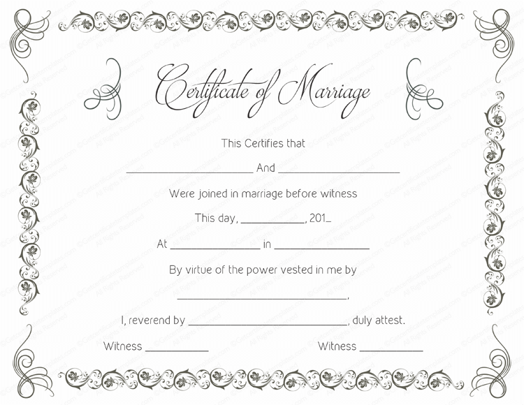 Simple as Gray Marriage Certificate Template (Word Template)