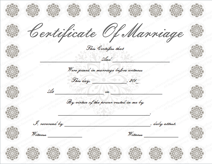 Snow Flower Design Marriage Certificate Template (Word)