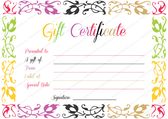 Spring Splashes Gift Certificate Template