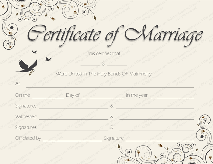 Spring blossoms Marriage Certificate Template (Word Template)