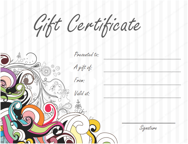 Swirls Gift Certificate Template Word and PDF