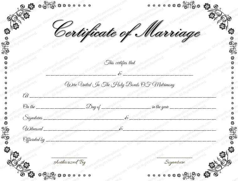 Vintage Marriage Certificate Template (Vintage Flowers Design)