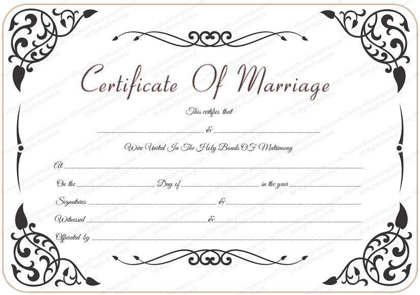 Wedding Certificate Template with Traditional Swirls (Printable Word Design)