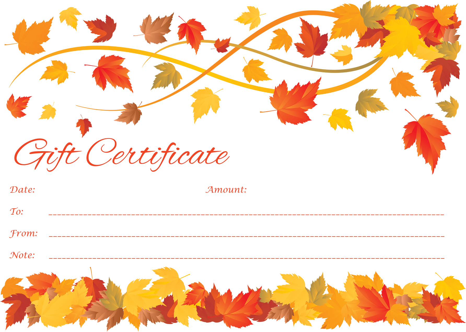 Word Spring to Fall Gift Certificate Template
