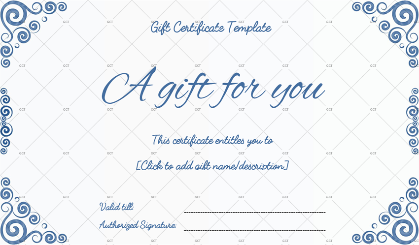 gift certificate template word Blue
