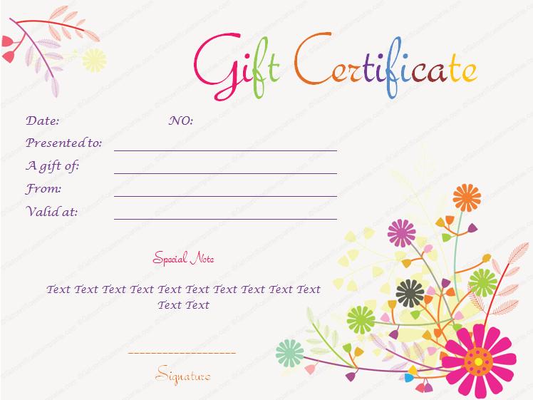 Birthday Gift Certificate WORD