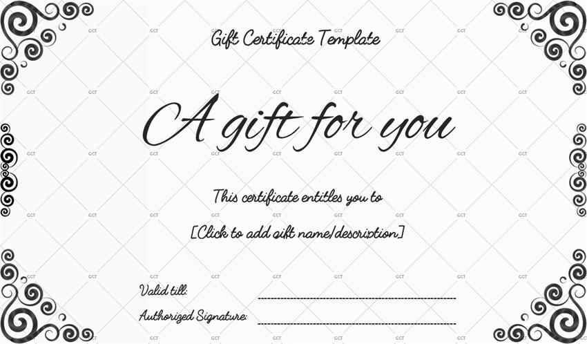Black Colour Design Gift Certificate