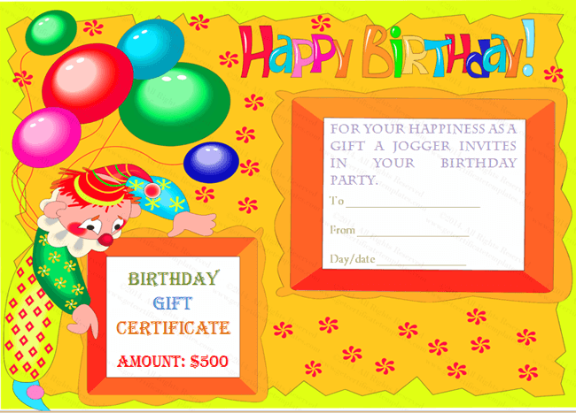 Colourful Clown Birthday Gift Template