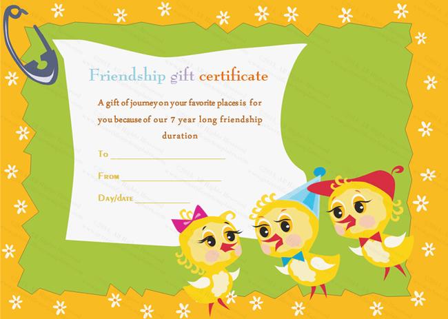 Cute Ducklings Gift Crtificate Template