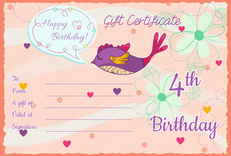Kids Birthday Gift Certificate (Editable)