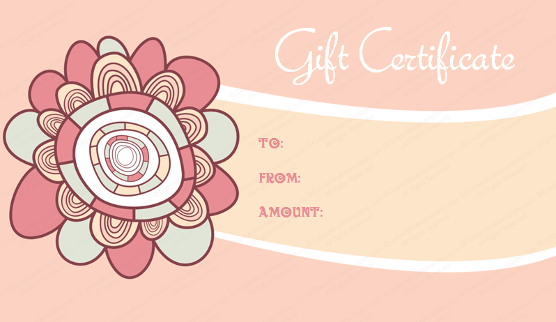 Pink Flowery Gift Certificate