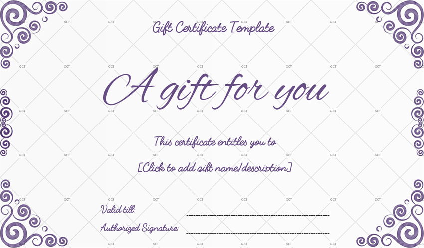Spiral Design Gift Certificate Template