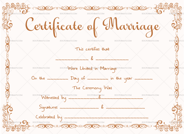 Marriage Certificate Template (Brown, Printable and Editable)