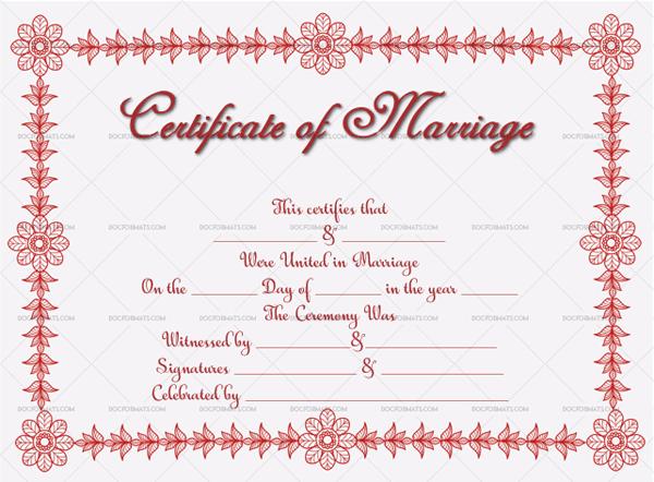 Marriage Certificate Template (grey, fancy marriage certificate)