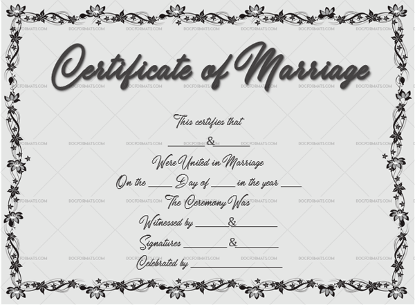 Marriage Certificate Template (Floral, printable marriage certificate)