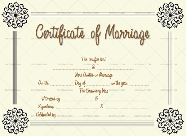 Marriage Certificate Template (flowers, realistic marriage certificate free)