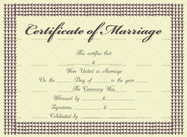 Marriage Certificate Template (Plum, fake marriage certificate)