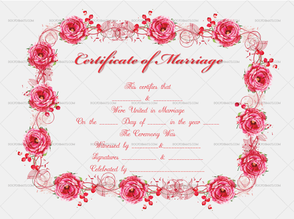 Marriage Certificate Template (Roses, Fillable Template)