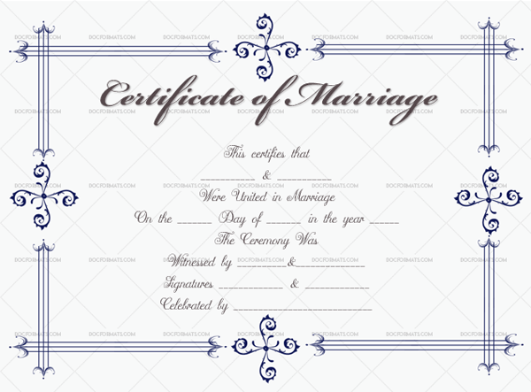 Marriage Certificate Template ( border, Editable Template)