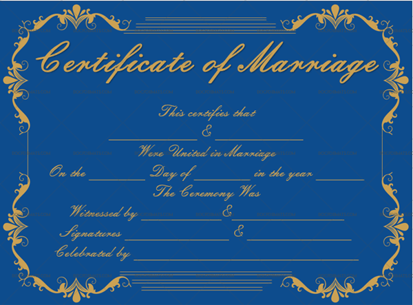 Marriage Certificate Template (Royal Blue, Printable and Editable)