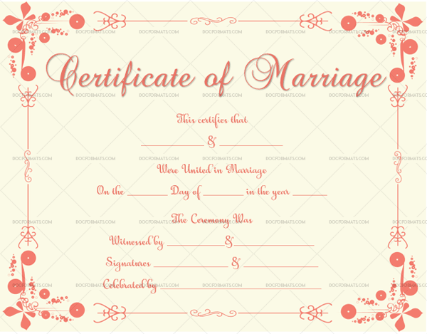 2 Marriage Certificate Template (Light Pink, Editable in Word)