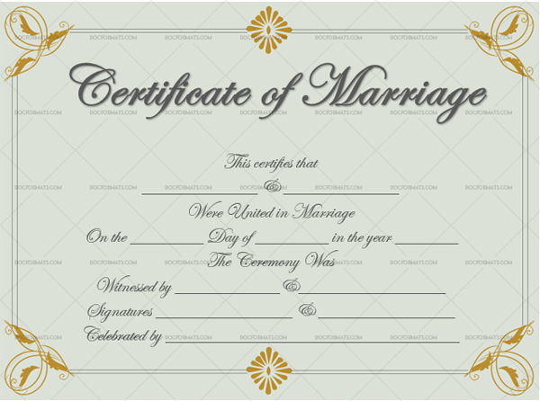 Marriage Certificate Template (Grey Gold, Customizable Template)