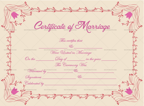 Marriage Certificate Template (Shocking Pink, Blank Template)