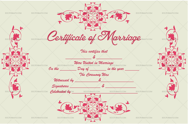 Marriage Certificate Template (Red Pink, decorative marriage certificate)
