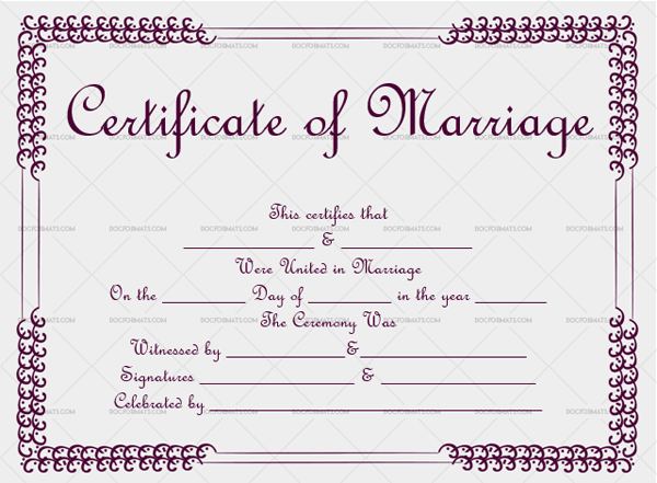 Marriage Certificate Template (EggPlant, keepsake marriage certificate template)