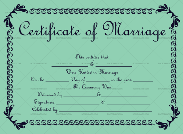 Marriage Certificate Template ( Light Green, fancy marriage certificate)