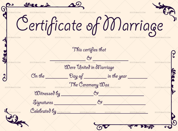 Marriage Certificate Template (Pastel Pink, printable marriage certificate)
