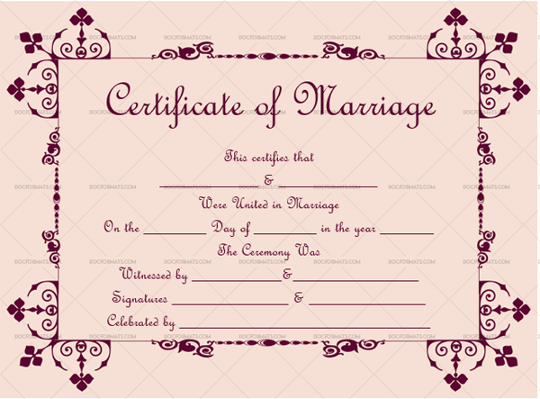 Marriage Certificate Template (Magenta, realistic marriage certificate)